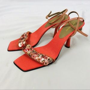 Vintage Nine West square toe strappy heels coral